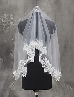 Bride Bridesmaids Beige / White Wedding Veil One-tier Fingertip Veils Lace Applique Edge Tulle Netting
