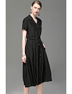 Kadın Dışarı Çıkma Günlük/Sade A Şekilli Elbise Solid,Kısa Kollu V Yaka Diz üstü Suni İpek Bahar Yaz Yüksek Bel Mikro-Esnek İnce