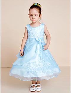 A-line Tea Length Flower Girl Dress - Organza Jewel with Beading Bow(s) Embroidery Flower(s) Sash / Ribbon