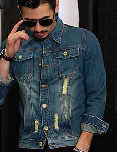 Men's Casual Casual Spring Denim Jacket,Solid Print Stand Long Sleeve Regular Cotton