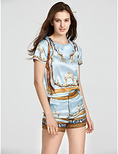 Women's Boho Casual/Daily Vintage / Street chic Summer Set,Print Round Neck Short Sleeve Blue Rayon / Polyester Thin