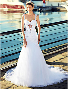 Trumpet / Mermaid Wedding Dress Beautiful Back Chapel Train Straps Tulle with Appliques Beading