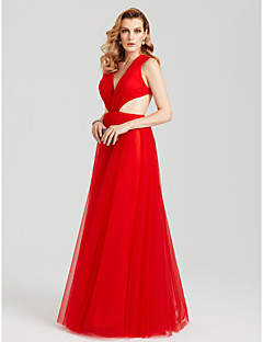 TS Couture Party Formal Kleid - Sexy Schöner Rücken A-Linie V-Ausschnitt Boden-Länge Tüll mit Seitlich drapiert Plissee