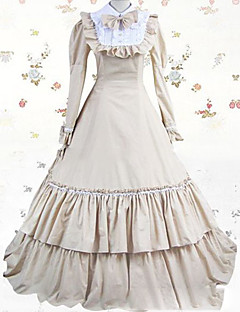 One-Piece/Dress Gothic Lolita Lolita Cosplay Lolita Dress White Vintage Cap Long Sleeves Floor-length Dress For