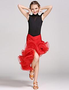 Danse latine Tenue Enfant Spectacle Elasthanne Viscose 2 Pièces Sans manche Taille moyenne Collant Jupe