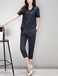 Kortærmet V-hals Mikroelastisk Damer Stribet Sommer Bukser T-shirt Afslappet Plusstørrelser T-shirt Bukse Jakkesæt