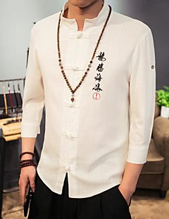 Men's Casual/Daily Simple Chinoiserie Spring Fall Shirt,Print Stand 3/4 Length Sleeves Cotton Linen Others