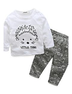 Baby Børn Bomuld Afslappet/Hverdag Ferie I-byen-tøj Dyre Print Tegneserier Tøjsæt,Dyretryk Tegneseriemotiv Efterår Forår
