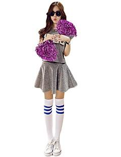 תלבושות למעודדות תלבושות בגדי ריקוד נשים הופעה סאטן נמתח 2 חלקים שרוול קצר גבוה חצאיות עליוניות