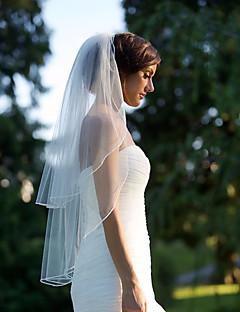 Menyasszonyi fátyol Kétkapcsos Könyékig érő fátylak Vágott szegély Sifon