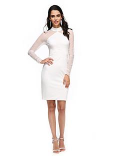 TS Couture® Coquetel Vestido - Transparente Tubinho Gola Alta Até os Joelhos Tule / Microfibra Jersey com Pregas