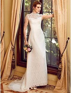 А-силуэт Свадебное платье С коротким шлейфом Вырез под горло Органза с