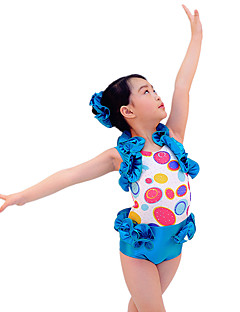 Jazz Roupa Crianças Actuação Elastano Frufru 3 Peças Sem Mangas Natural Malha Collant Tiaras Calções
