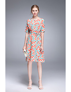 Kadın Dışarı Çıkma Günlük/Sade Sade Sevimli Çan Elbise Çiçekli,Kısa Kollu Yuvarlak Yaka Diz-boyu Suni İpek Bahar Yaz Yüksek Bel