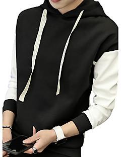 メンズ プラスサイズ シンプル カジュアル/普段着 パーカー ソリッド プリント カラーブロック パッチワーク マイクロエラスティック コットン ポリエステル スパンデックス 長袖 秋 冬