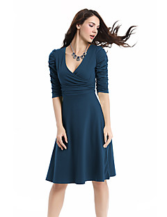 (Plus Size) Womens Elegant Ruffle Sleeve Ruched Casual Party Office Fitted Slim Bodycon A-Line Dress D0615