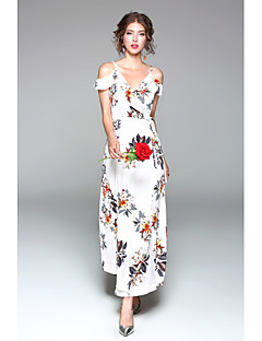 Women's Going out Casual/Daily Sexy Cute Chiffon Swing Dress,Floral V Neck Maxi Short Sleeve Polyester Spring Summer High Rise