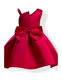 女の子の ファッション 純色 蝶結び コットン ドレス オールシーズン ノースリーブ
