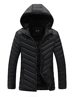 コート レギュラー パッド入り メンズ,日常 カジュアル ソリッド ナイロン コットン-シンプル 長袖