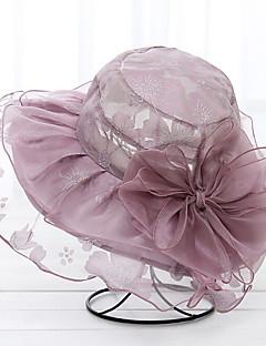 כובע דלי כובע עם שוליים רחבים כובע שמש מוצק אורגנזה קיץ/אביב קיץ כובע פרח נשים צבע מעורב