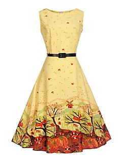 Dames Feestdagen Casual/Dagelijks Werk Vintage Schattig A-lijn Jurk Print-Ronde hals Tot de knie Mouwloos Katoen Polyester ZomerHoge
