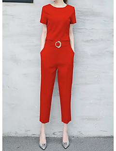 Feminino Japonesa/Curta Calça Conjuntos Casual Casual Verão,Sólido Decote Redondo Manga Curta Micro-Elástica
