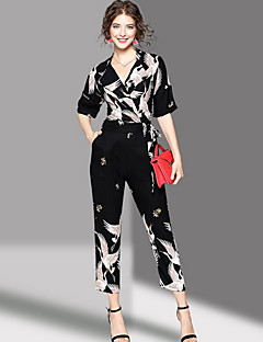 OYCP Women's Mid Rise Going out JumpsuitsCute Slim Print Summer