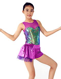 Jazz Justaucorps Femme Enfant Spectacle Elasthanne Polyester Paillété Au drapée 1 Pièce Sans manche Taille moyenne Collant