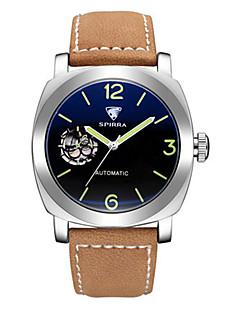 男性用 スケルトン腕時計 機械式時計 日本産 自動巻き 夜光計 レザー バンド ブラック ブラウン 黄色