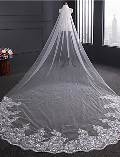 4M Length 3M WideLuxury Handmade Wedding Veil One-tier Chapel Veils Lace Embroidery Applique Edge Tulle