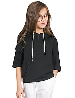 Girls' Solid Blouse,Cotton Spring Summer Half Sleeve Regular