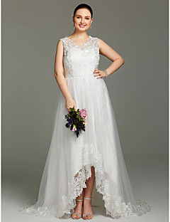 2017 LAN TING BRIDE Plus Size A-line Wedding Dress - Lacy Look Beautiful Back Asymmetrical V-neck Lace Tulle with Appliques