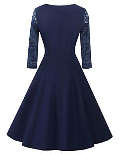 Kadın Parti Dışarı Çıkma Günlük/Sade Vintage Sade Sokak Şıklığı Çan Elbise Solid,Yarım Kol Kare Yaka Diz-boyu Pamuklu PolyesterYaz