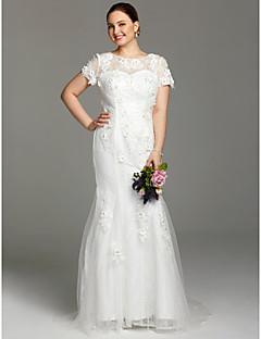 LAN TING BRIDE Pouzdrové Svatební šaty - Okouzlijící & dramatický Průsvitné Velmi dlouhá vlečka Klenot Krajka sKorálky Aplikace Knoflíky