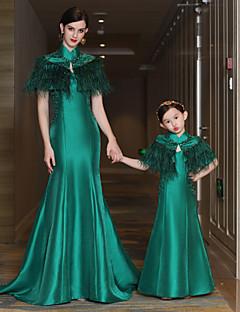 マーメイド/トランペットハイネックコートトレインサテンミカドイブニングドレス