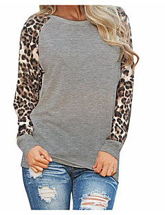 Women's Casual/Daily Simple Summer Blouse,Solid Round Neck Long Sleeve Polyester Thin