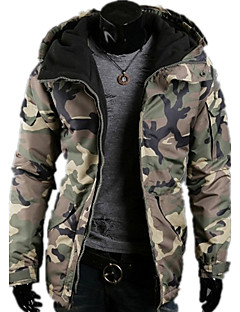 Heren camouflage Lang Gewatteerd Jas-Sport Casual/Dagelijks Eenvoudig Polyester Polypropyleen Rayon Lange mouw