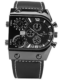 V6 Herrn Sportuhr Modeuhr Armbanduhr Chinesisch Quartz Stopuhr Großes Ziffernblatt Leder Band Cool Bequem Schwarz