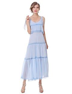 Feminino Evasê Vestido,Para Noite Casual Simples Fofo Moda de Rua Sólido Decote V Médio Sem Manga Algodão Verão Outono Cintura AltaSem