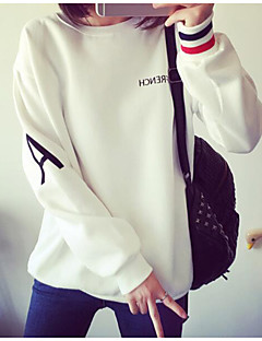Women's Casual/Daily Simple Sweatshirt Solid Letter Round Neck Micro-elastic Cotton Polyester ¾ Sleeve Spring Fall