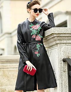 Damen Solide Einfach Ausgehen Lässig/Alltäglich Trench Coat,V-Ausschnitt Herbst Winter Lange Ärmel Lang Polyester Lammfell Stickerei