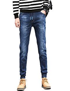 Herren Einfach Mittlere Hüfthöhe Mikro-elastisch Jogger Jeans Schlank Hose Solide