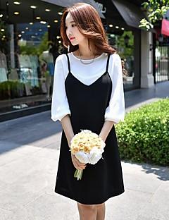 Feminino Reto Preto e Branco Vestido,Feriado Para Noite Casual Trabalho Sensual Vintage Simples Estampa Colorida Decote RedondoAcima do
