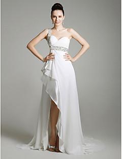 シース/コラム1肩の恋人スイープ/ブラシトレインtscouture®によるビーディング付きミリタリーボールドレス
