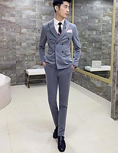 Herren Solide Einfach Arbeit Anzug,Steigendes Revers Frühling Herbst Lange Ärmel Standard Baumwolle Polyester