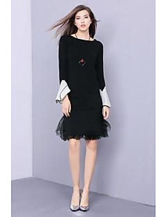 Damă Rotund Tricou Fustă Costume Ieșire Draguț,Bloc Culoare Manșon Lung Toamnă Micro-elastic