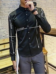 メンズ カジュアル/普段着 シャツ,シンプル シャツカラー ソリッド レタード コットン 長袖