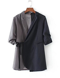Feminino Terno Casual Simples Primavera Outono,Listrado Estampa Colorida Padrão Outros Colarinho de Camisa Sem Manga