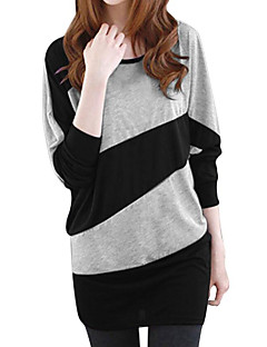 Women's Casual/Daily Simple T-shirt,Color Block Round Neck Long Sleeves Polyester