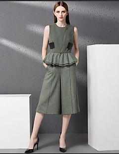 Damen Solide Street Schick Ausgehen Muskelshirt Hose Anzüge,Rundhalsausschnitt Sommer Ärmellos Mikro-elastisch